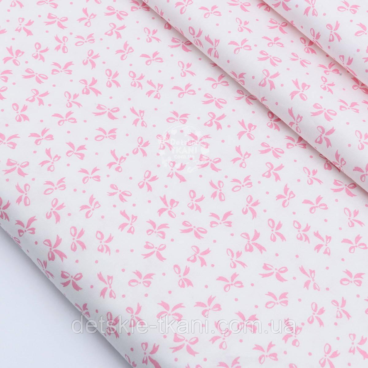 """Сатин ткань """"Густые бантики и точки"""" розовые на белом, № 1769с"""