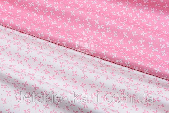 сатин  с розовыми бантиками
