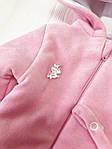 Комбинезон-человечек  на молнии велюровый демисезонный Розовый, фото 5
