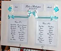 План (схема) рассадки гостей ручной работы в бирюзовом цвете на планшете