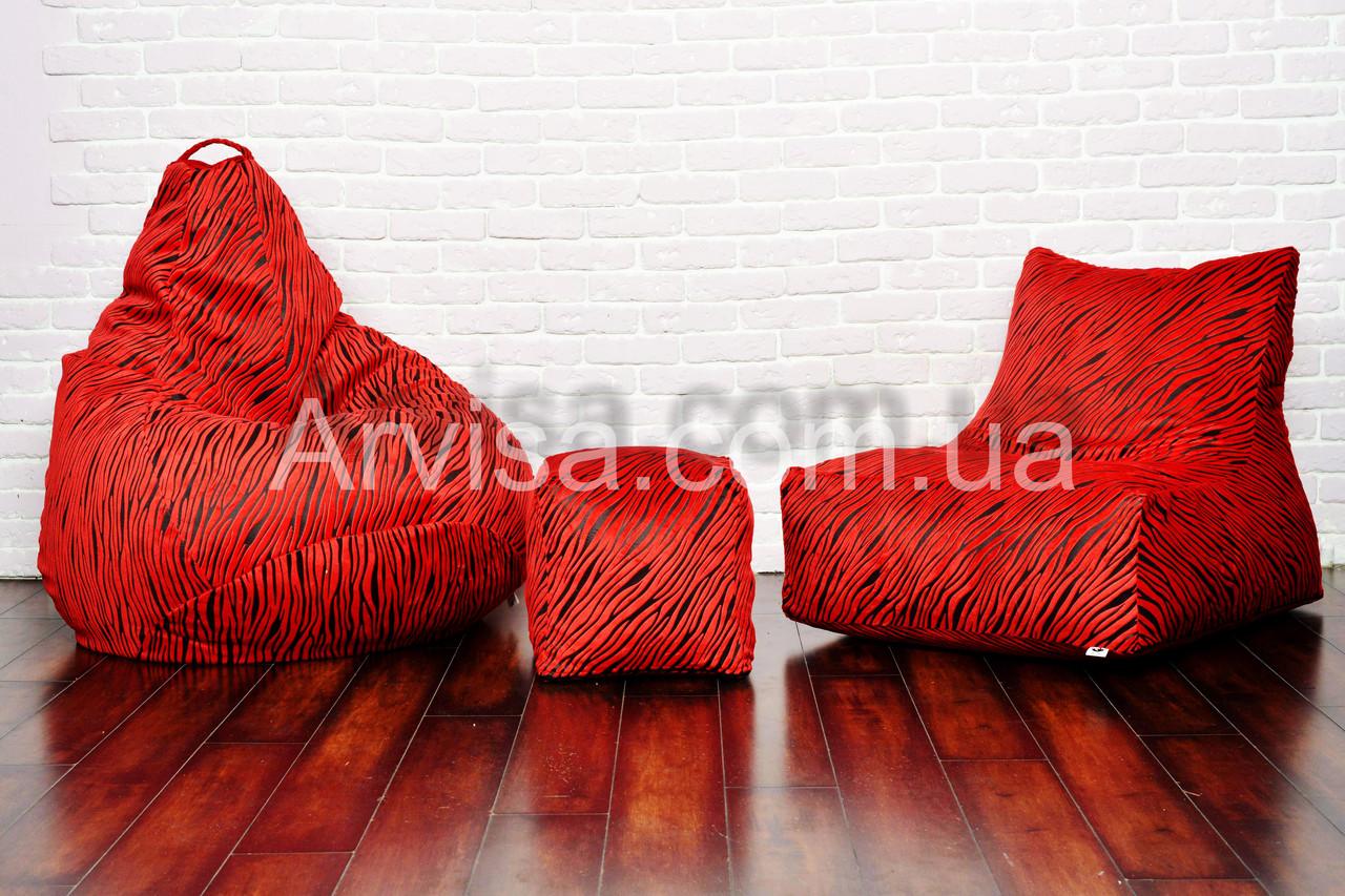 Кресло мешок груша пуф набор мягкой мебели красного цвета