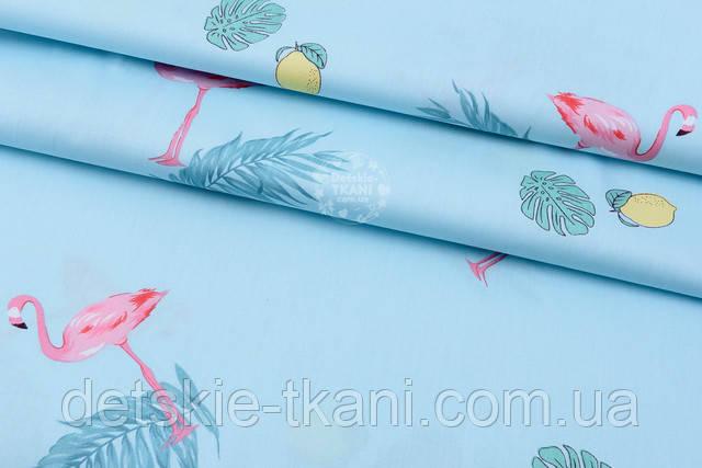 ткань с фламинго