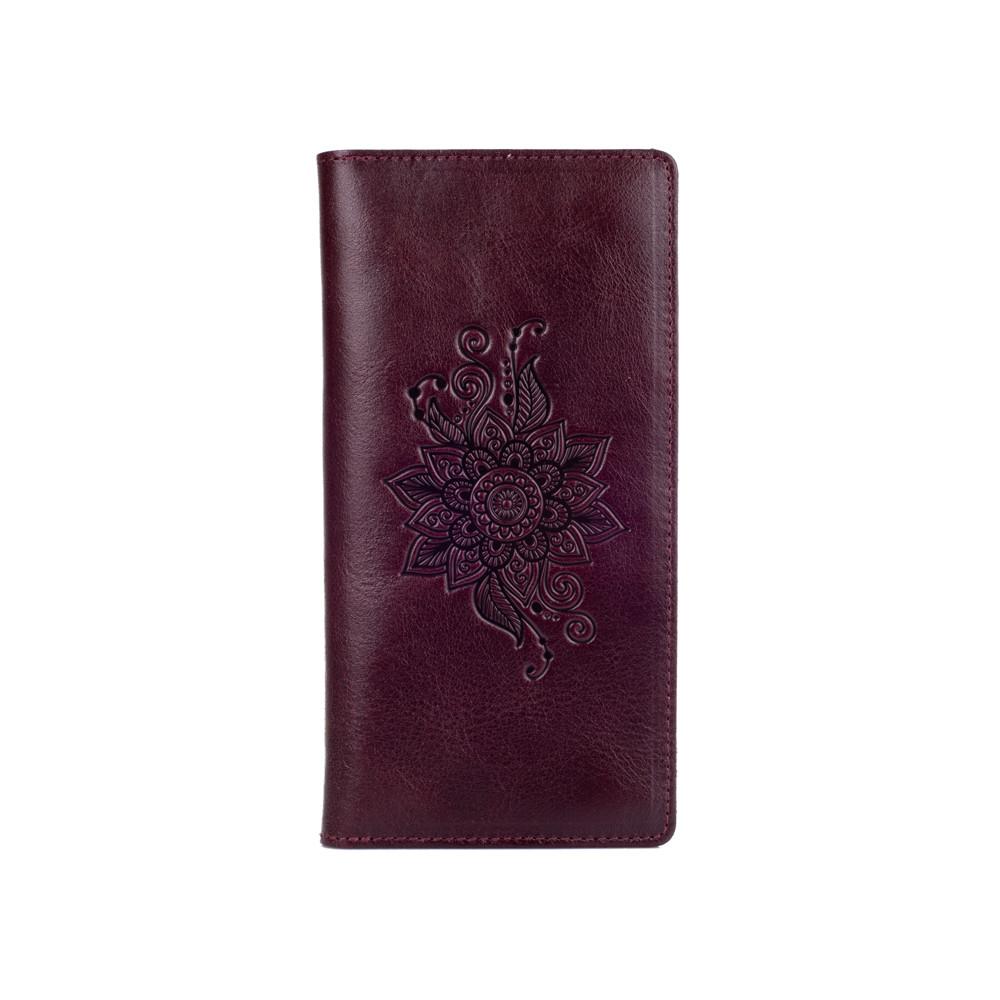 """Шкіряний гаманець на кнопках, з натуральної шкіри темно фіолетового кольору, колекція """"Mehendi Classic"""""""