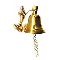 Колокол морской корабельный рында с якорем бронза (высота 10 см)