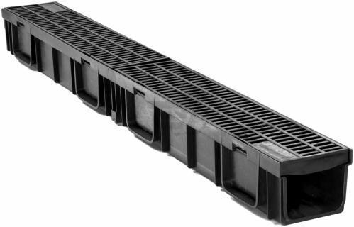 Желоб HAURATON TOP Х (119 х 89 х 1000), PE-PP (черний) с решёткой PP - прямоуг. решетка  (MW 8/21)