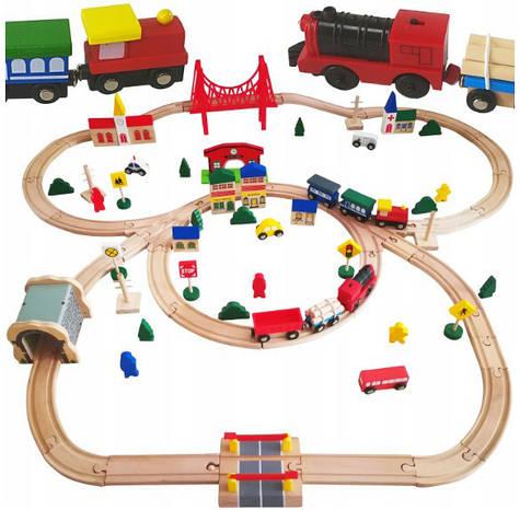 Большая деревянная железная дорога Kinderplay марки DORIS 90 элементов для детей