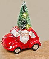Led ночник красная машина с Дедом Морозом и елкой