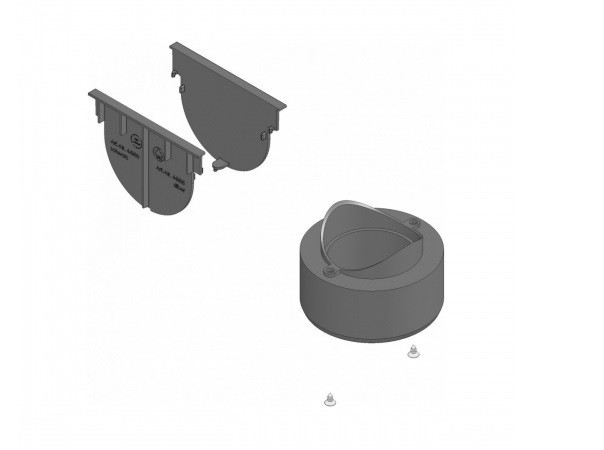 Комплект аксессуаров HAURATON TOP Х для черного желоба: 2 глухие заглушки и вертик. Выпуск
