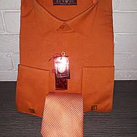 Оранжевая мужская рубашка с галстуком под запонку BENDU (размер от 39 до 46)