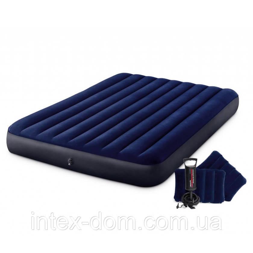 Надувной матрас Intex 64765 (152 х 203 х 25 см) с двумя подушками, ручным насосом