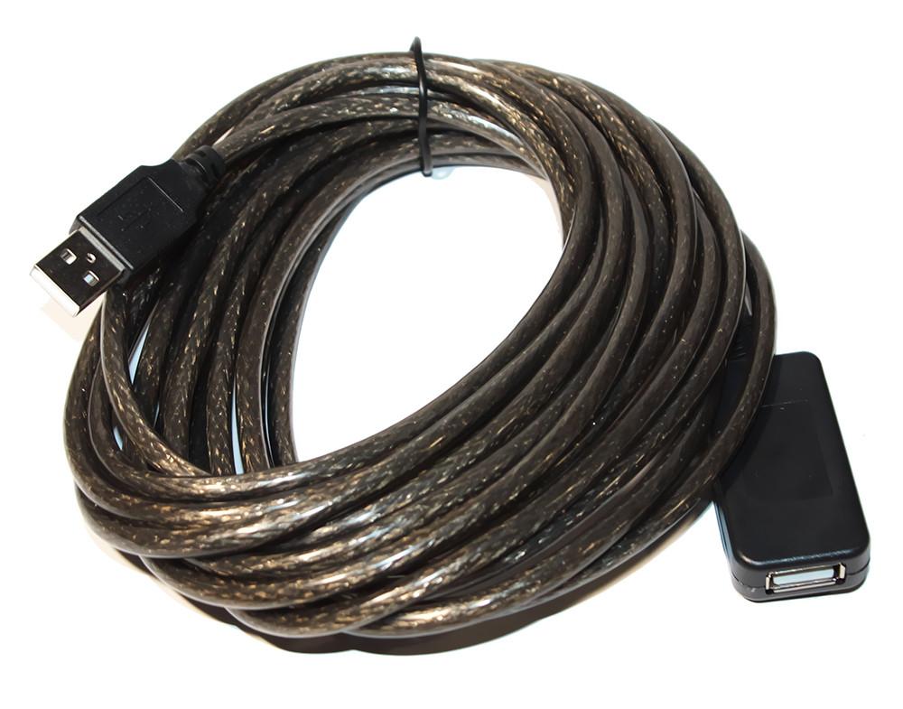 Активный кабель-удлинитель USB2.0 - 5.0м AM/AF прозрачный с чипом Q100