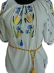 Жіноча вишита блузка з волошками та колосками (Женская вышитая блузка с  васильками и колосками) 54ef90a306c48