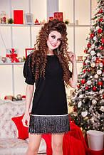 Женское замшевое короткое черное платье