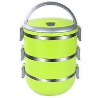 Ланчбокс, Three Layers Lunchbox, колір – Салатовий, термо ланч бокс