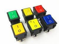 Кнопка широкая на четыре контакта красная Вкл.-выкл.