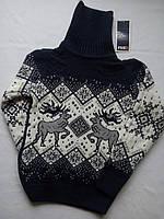 Детский свитер под горло зимний на мальчика фирмы FIVE (с оленями)
