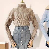 Женский теплый вязаный свитер с геометрическим узором бежевый 56ab1c7bf6fb8