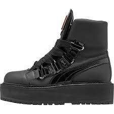 brand new c7df2 c2163 Женские зимние ботинки Puma Rihanna Fenty Boots Black (в стиле Пума Рихана)  черные, кожа