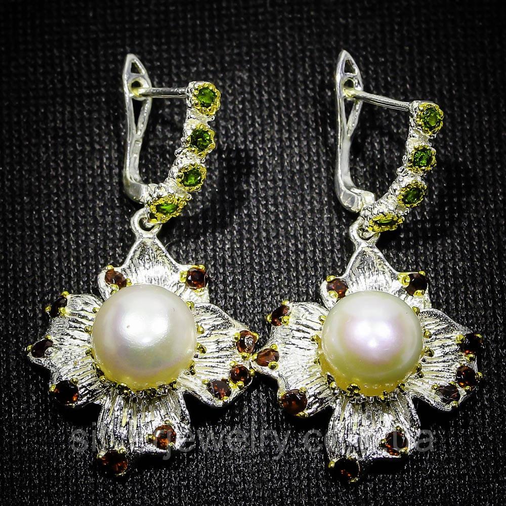 Срібні сережки з ПЕРЛАМИ (натуральний), срібло 925 пр.