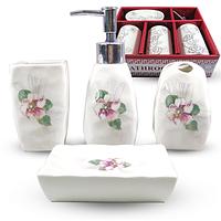 Набор аксессуаров для ванной комнаты 4 пр. Цветочный барельеф 888-130