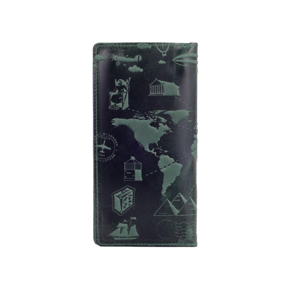 """Дизайнерский кожаный бумажник зеленого цвета на кнопках с отделением для монет, коллекция """"7 wonders of the world"""""""