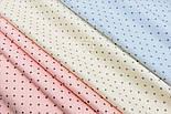"""Сатин ткань """"Мелкие одинаковые звёздочки в шахматном порядке"""" серые на кремовом, №1790с, фото 3"""