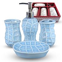 Набор аксессуаров для ванной комнаты 4 пр. Классика однотон 888-140