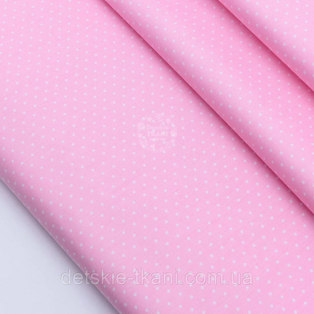 """Сатин ткань """"Белые точки 2 мм"""" на розовом №1793с"""