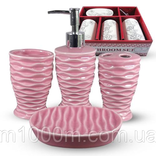 Набор аксессуаров для ванной комнаты 4 пр. Классика однотон 888-142