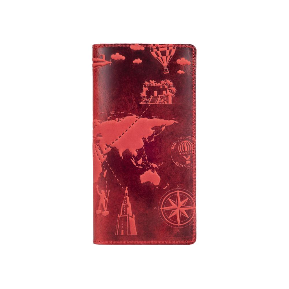 """Дизайнерский бумажник красного цвета с матовой натуральной кожи, на кнопках, с отделением для монет, коллекция """"7 wonders of the world"""""""