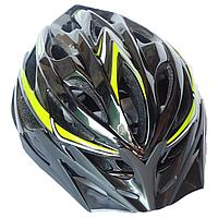 Велосипедный шлем универсальный со съемным козырьком SmartWorld FT-58-1 53-58 см Черный с зеленым, КОД: 212430