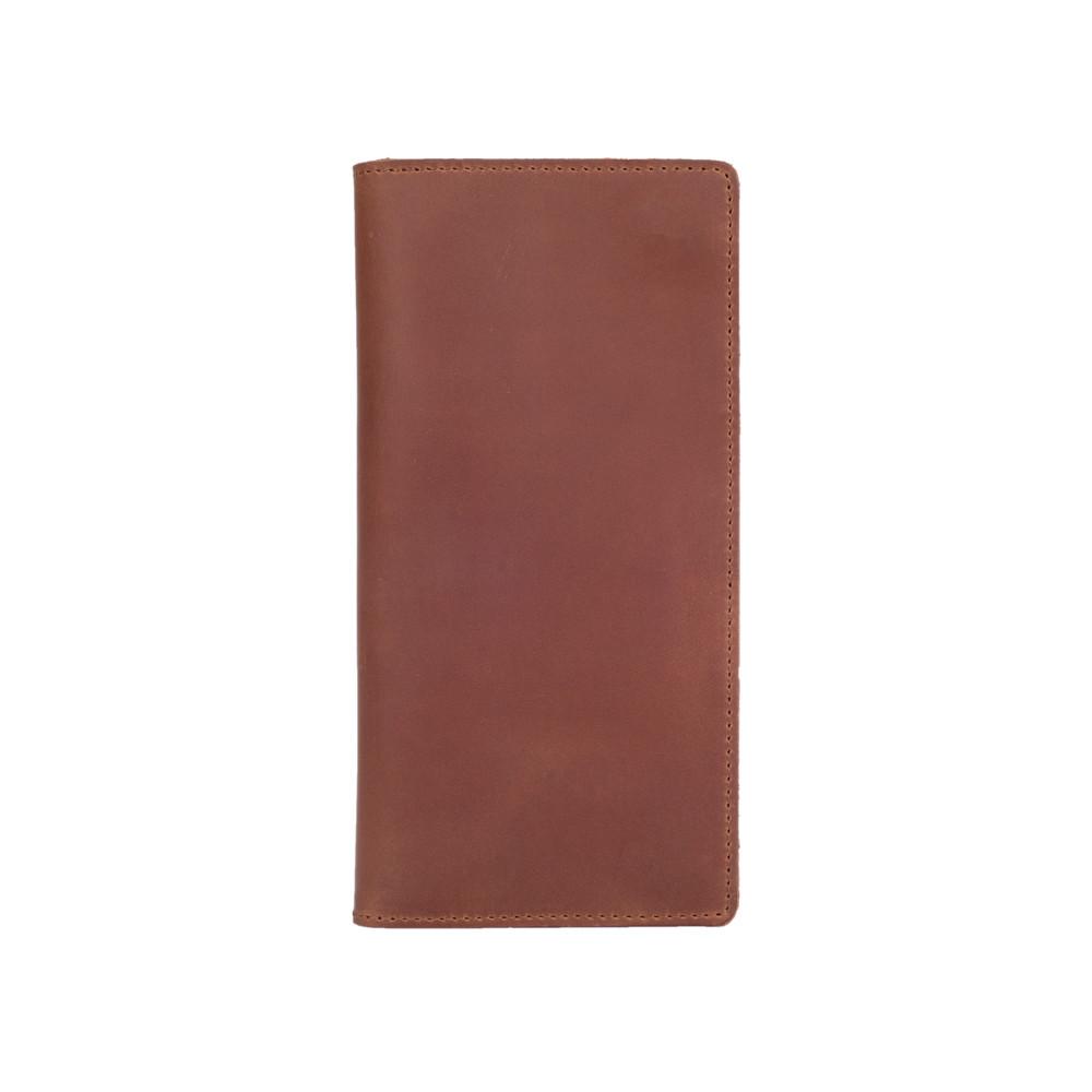 Зносостійкий шкіряний гаманець темно рыжого кольору на 14 карт