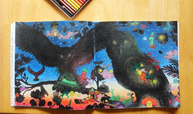 Раскраска антистресс выполненная карандашами Marco Renoir Fine Art 24-ТN