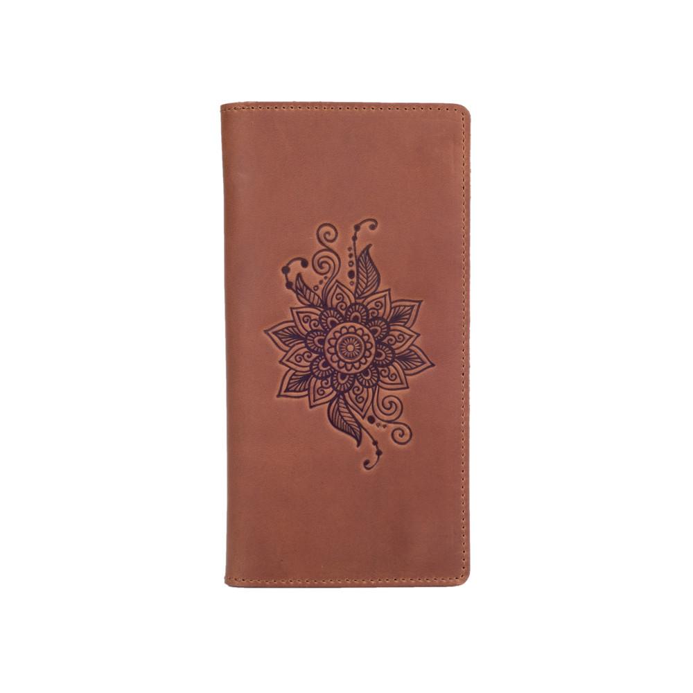 """Бумажник с матовой натуральной кожи темно рыжого цвета на 14 карт, коллекция """"Mehendi Classic"""""""