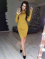 f8bc262b75a Горчичное платье-джемпер в рубчик с высоким воротом VL4180 S M. Один размер