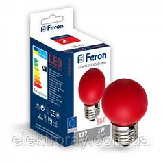 Светодиодная лампа Feron G45 1W Е27 красный