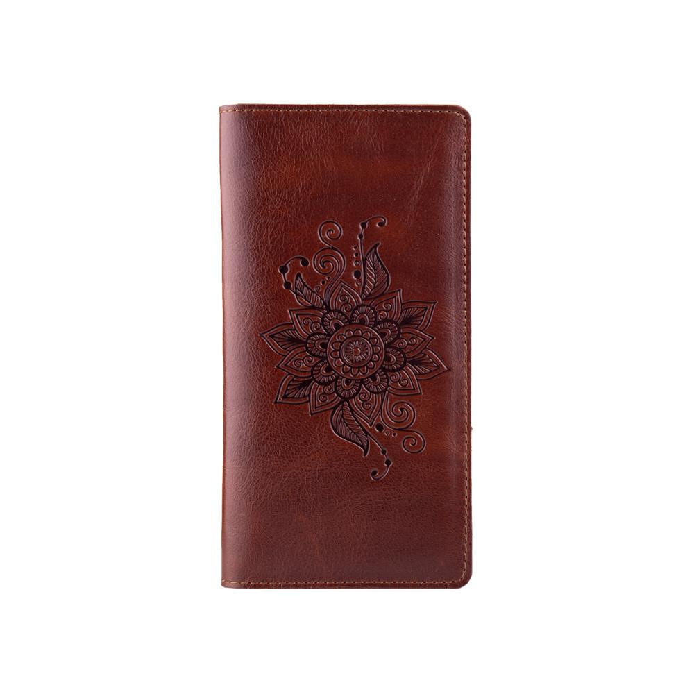 """Эргономический бумажник с глянцевой кожи коньячного цвета на 14 карт с авторским художественным тиснением """"Mehendi Classic"""""""