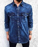 1cdea8209c4 Promo Мужская рубашка синяя джинсовая 3342-1183