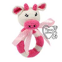 Погремушка коровка розово-белая