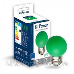 Светодиодная лампа Feron G45 1W Е27 зеленый