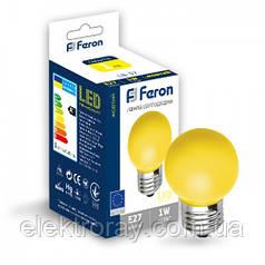 Светодиодная лампа Feron G45 1W Е27 желтый