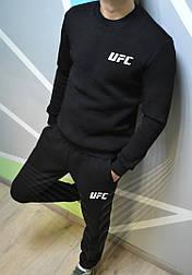 Спортивный костюм мужской теплый UFC без капюшона утепленный black. Живое фото. реплика