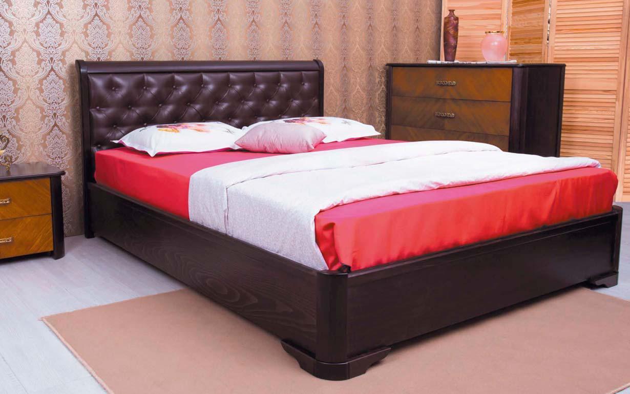 Деревянная кровать Милена Мягкая спинка ромбы с механизмом 120х190 см. Аурель (Олимп)