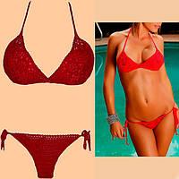 Вязаный раздельный купальник-бикини(тройка) красного цвета с кружевным лифом
