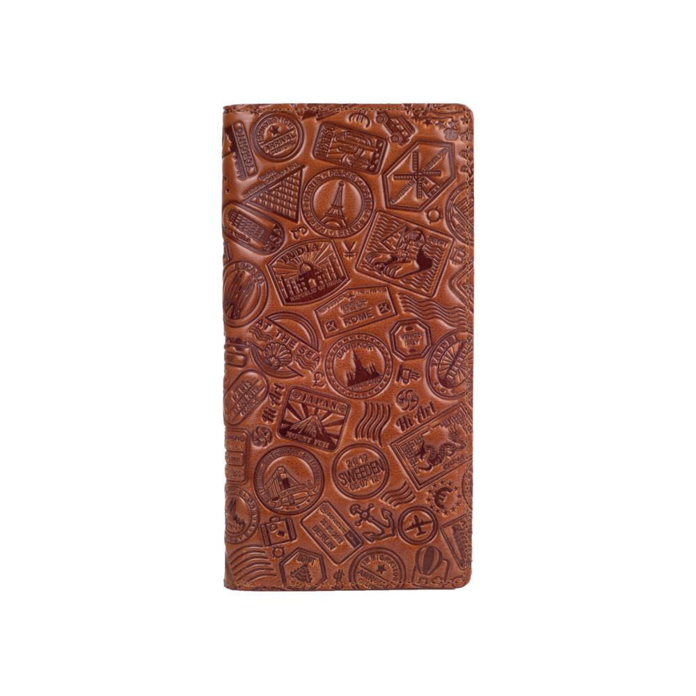 """Красивый кожаный бумажник на 14 карт цвета глины, коллекция """"Let's Go Travel"""""""