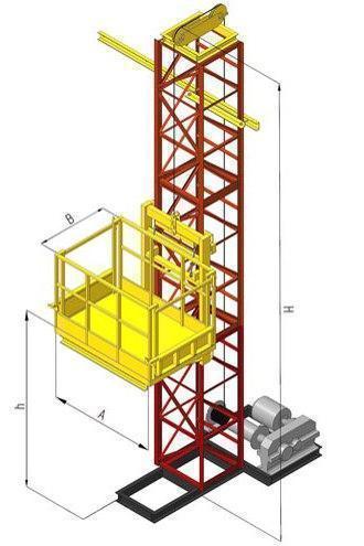 Висота підйому Н-81 метрів. Щогловий підйомник вантажний, будівельні підйомники 1 тонна, 1000 кг.