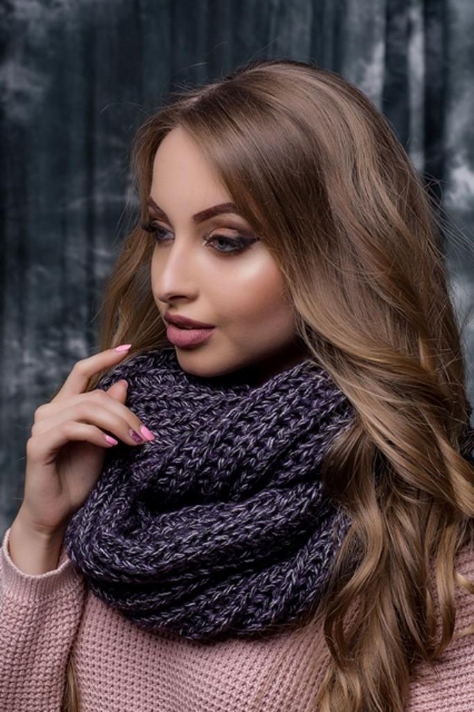 Жіночий фіолетовий в'язаний снуд/хомут/шарф Hilary