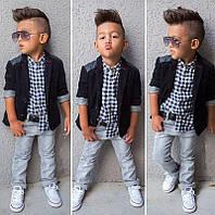 Костюм тройка для мальчика: джинсы+рубашка+пиджак
