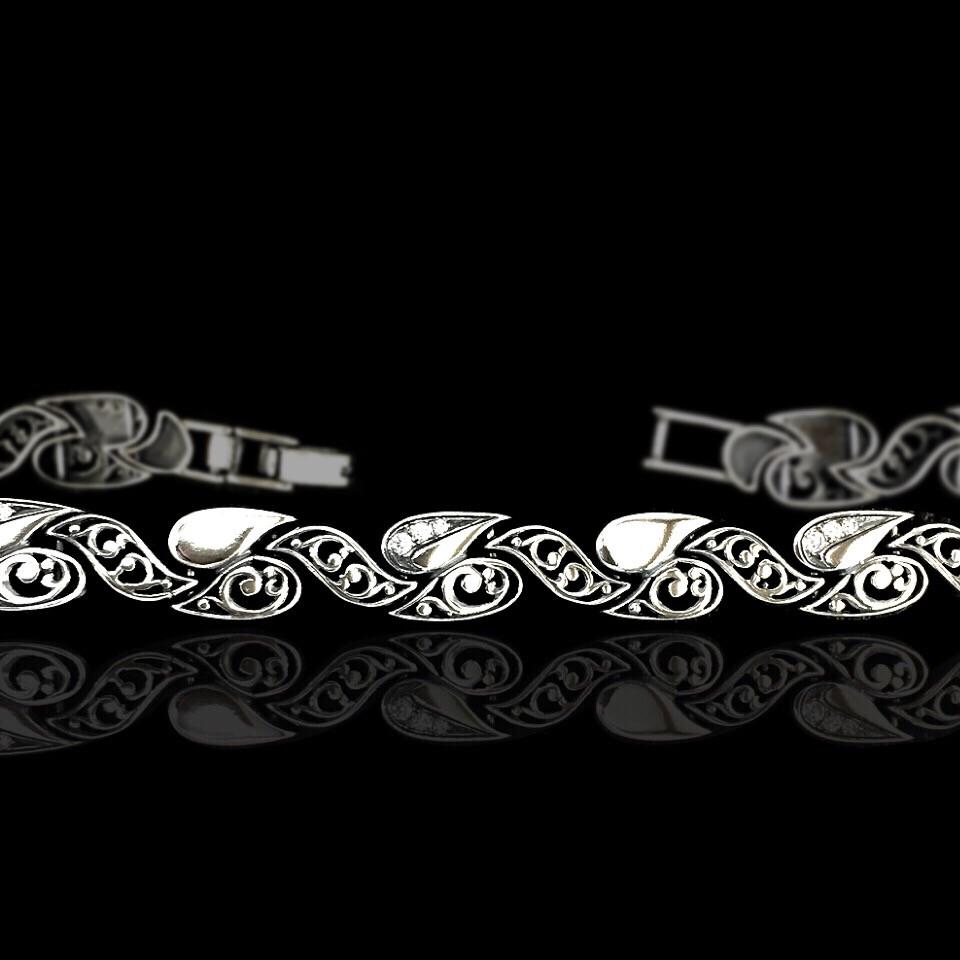 Cеребряный женский браслет с фианитами, 190мм