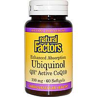 Коэнзим Q10 (убихинон), Natural Factors, 100 мг, 60 гелевых капсул